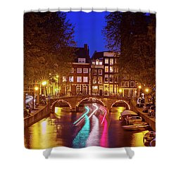 Shower Curtain featuring the photograph Amsterdam By Night by Barry O Carroll