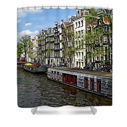 Amsterdam Canal Shower Curtain by Anthony Dezenzio