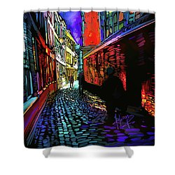 Shower Curtain featuring the painting Amsterdam Cobbletones by DC Langer
