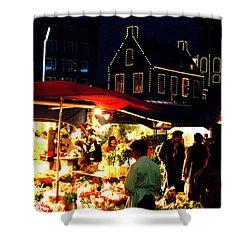 Amsterdam Flower Market Shower Curtain by Nancy Mueller