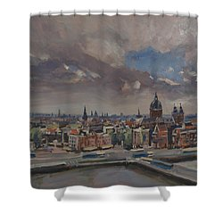 Shower Curtain featuring the painting Amsterdam Skyline by Nop Briex