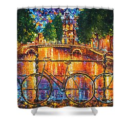 Amsterdam - The Bridge Of Bicycles  Shower Curtain by Leonid Afremov