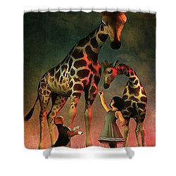 Amy And Buddy With The Giraffes Shower Curtain