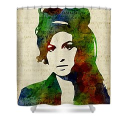 Amy Winehouse Watercolor Shower Curtain