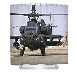 An Ah-64 Apache Helicopter Returns Shower Curtain by Terry Moore
