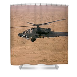 An Ah-64d Apache Longbow Fires A Hydra Shower Curtain by Terry Moore