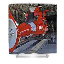 An Aircrew Loads A Coast Guard Hh-65 Shower Curtain by Stocktrek Images