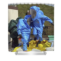 An Airman And A Soldier Jump Into A Tub Shower Curtain by Stocktrek Images