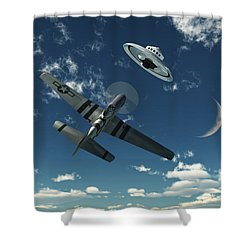 An American P-51 Mustang Gives Chase Shower Curtain by Mark Stevenson