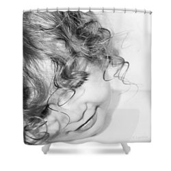 An Angels Smile - Black And White Shower Curtain