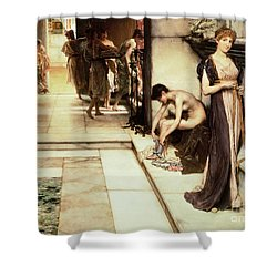 An Apodyterium Shower Curtain by Sir Lawrence Alma-Tadema