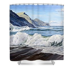 An April Morning At Crackington Haven Shower Curtain