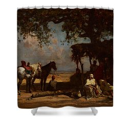 An Arab Encampment Shower Curtain by Gustave Guillaumet
