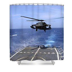 An Army Uh-60 Black Hawk Helicopter Shower Curtain by Stocktrek Images