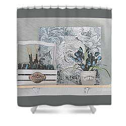 An Artist's Shelf Shower Curtain