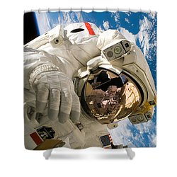 An Astronaut Mission Specialist Shower Curtain by Stocktrek Images