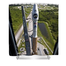 An Atlas V Rocket On The Launch Pad Shower Curtain by Stocktrek Images