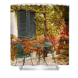 An Autumn Corner Shower Curtain by Rae Tucker