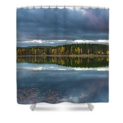 An Autumn Evening At The Lake Shower Curtain by Andreas Levi