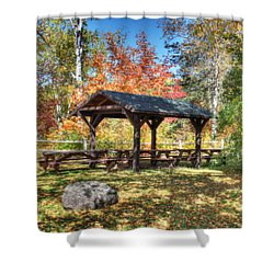 Shower Curtain featuring the photograph An Autumn Picnic In Maine by Shelley Neff