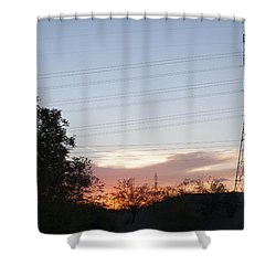 An Electric View Shower Curtain by Anne Rodkin
