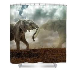 Shower Curtain featuring the digital art An Elephant Never Forgets by Nicole Wilde