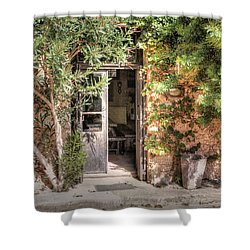 Shower Curtain featuring the photograph An Entrance In Santorini by Tom Prendergast