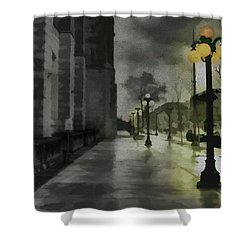 Shower Curtain featuring the mixed media An Evening In Paris by Jim  Hatch