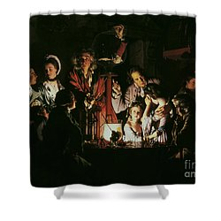 An Experiment On A Bird In The Air Pump Shower Curtain by Joseph Wright of Derby