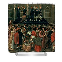 An Eyewitness Representation Of The Execution Of King Charles I Shower Curtain by John Weesop