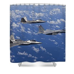 An F-15 Eagle And Two F-22 Raptors Fly Shower Curtain by HIGH-G Productions