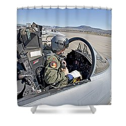 An F-15 Pilot Performs Preflight Checks Shower Curtain by HIGH-G Productions