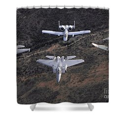 An F-16 Fighting Falcon, F-15 Eagle Shower Curtain by Stocktrek Images