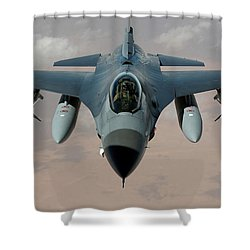 An F-16 Fighting Falcon Flies A Mission Shower Curtain by Stocktrek Images