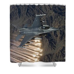 An F-16 Fighting Falcon Releases Flares Shower Curtain by HIGH-G Productions