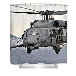 An Hh-60 Pave Hawk Helicopter In Flight Shower Curtain by Stocktrek Images