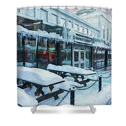 An Icy Quincy Market Shower Curtain