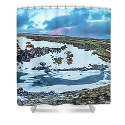 An Icy Waterfall Panorama During Sunrise In Iceland Shower Curtain