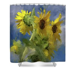 Shower Curtain featuring the photograph An Impression Of Sunflowers In The Sun by Lois Bryan