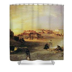 An Indian Pueblo Shower Curtain by Thomas Moran