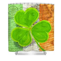 Shower Curtain featuring the mixed media An Irish Shamrock Collage by Mark Tisdale