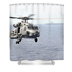 An Mh 60r Seahawk Helicopter In Flight Shower Curtain