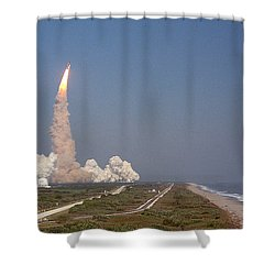 An Oceanside View Of The Sts-29 Discovery Launch From Pad 39b. Shower Curtain