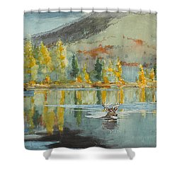 Shower Curtain featuring the painting An October Day by Winslow Homer