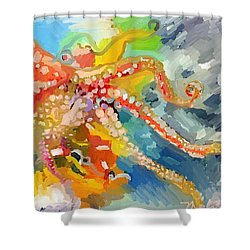 An Octopus Lunch Inspired This Painting Of An Octopus  Shower Curtain