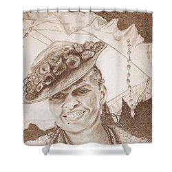 An Old Fashioned Girl In Sepia Shower Curtain