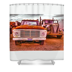 Shower Curtain featuring the photograph An Old Ford And Kenworth by Jeff Swan
