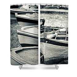 An Old Man's Boats Shower Curtain by Silvia Ganora