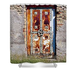 An Old Rusty Door In Katakolon Greece Shower Curtain