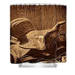 An Old Saddle Shower Curtain by American West Legend By Olivier Le Queinec